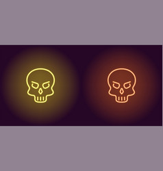 human neon skull in yellow and orange color vector image