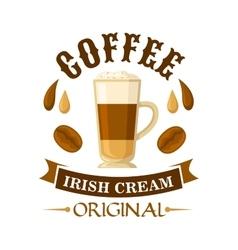 Irish cream coffee cocktail badge for menu design vector
