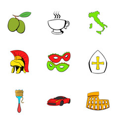 italian travel icons set cartoon style vector image