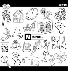Letter n educational task coloring book page vector