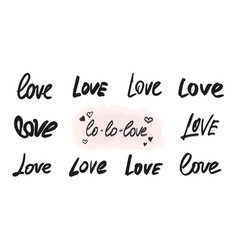 love lettering overlay set handwritten words vector image