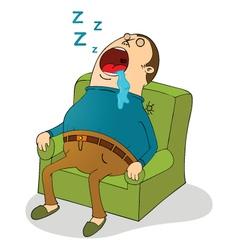 Man sleeping on sofa vector image