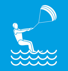 Man takes part at kitesurfing icon white vector