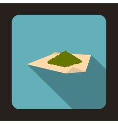Marijuana on a paper icon flat style vector