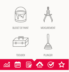 Measurement plunger and repair toolbox icons vector