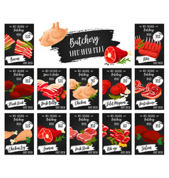 Meat price tags butcher shop food products vector