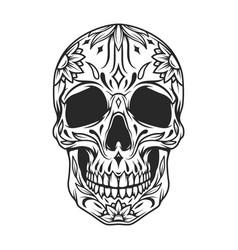 mexican sugar skull monochrome concept vector image