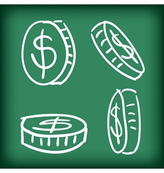 Money coins set hand drawn doodle vector