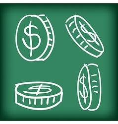money coins set hand drawn doodle vector image