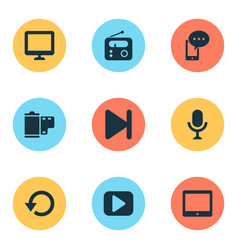 multimedia icons set with radio display replay vector image