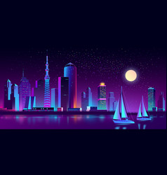neon megapolis on river with yachts vector image