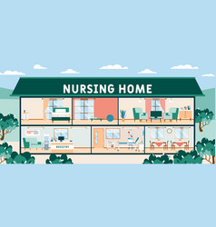 Nursing home premises inner view and furnishing vector