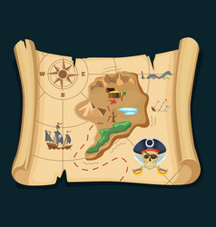 Old treasure map for pirate adventures island vector
