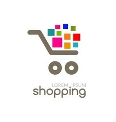Online Shop mall market concept cart Logo design vector image