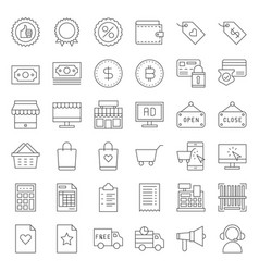 Online shopping line style icon set editable vector
