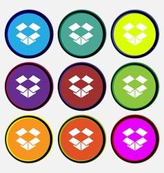 Open box i icon sign Nine multi-colored round vector