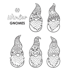 Outline set with trolls gnomes vector