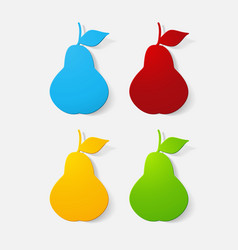 Paper clipped sticker fruit pear vector