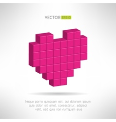 Pink heart icon in special pixel flat design vector image