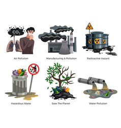 Pollution awareness concept compositions vector