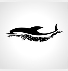 professional swimmer dolphin logo vector image