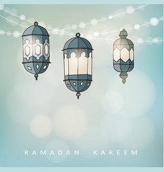 Ramadan lluminated arabic lanterns with a string vector