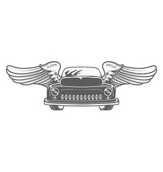 Retro car with wings isolated vector