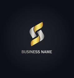 S initial circle shape company gold logo vector