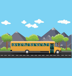 School bus yellow on road with tree and mountain vector