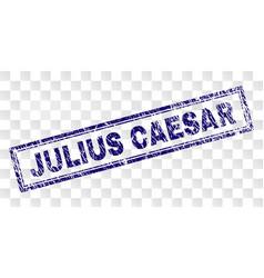 Scratched julius caesar rectangle stamp vector