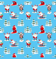 seamless pattern with santa claus vector image vector image