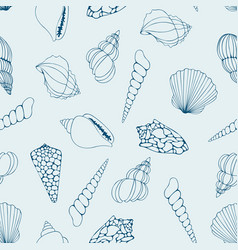 Seashells contour drawing seamless pattern vector