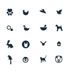 Set animals pets icons vector
