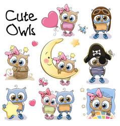 set of cute cartoon owls vector image