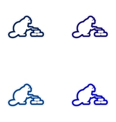 Set of paper stickers on white background beaver vector