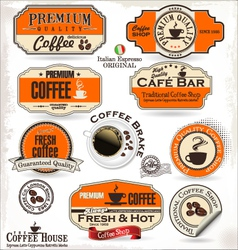 Set of Retro Vintage coffee labels vector image