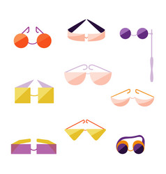 set with different type of flat style glasses vector image