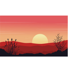 Silhouette of desert at morning landscape vector