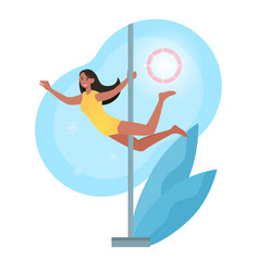 Smiling female character is training pole dance vector