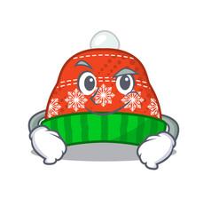 Smirking winter hat in mascot shape vector