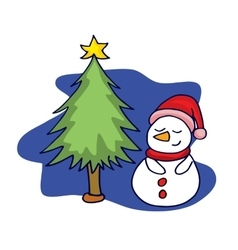 SNowman with spruce of art vector