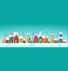 Snowy cityscape or landscape with town city vector