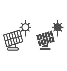Solar panel line and glyph icon sun energy vector