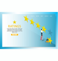 star rating landing page website template vector image