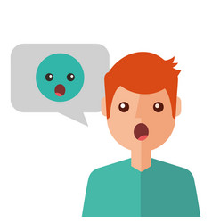surprised young man with emoticon avatar character vector image
