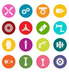 Techno mechanisms kit icons many colors set vector
