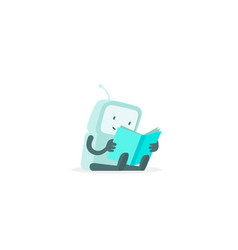 The robot sits reading book instructions user vector
