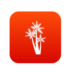 Three tropical palm trees icon digital red vector