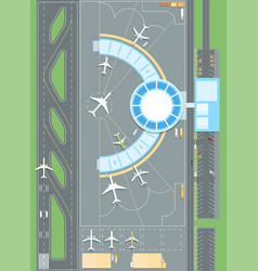 Top view of the airport - modern colorful vector