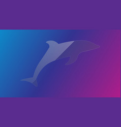 Transparent glass dolphin vector